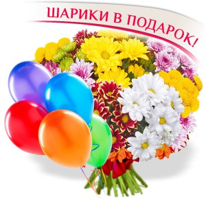 Осенние каникулы - букет из разноцветных хризантем + воздушные шары...<br>