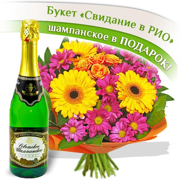 Свидание в Рио + Шампанское в подарок - букет из хризантем и гербер + шампанское в подарок