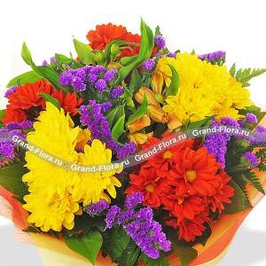 Праздник осени + ваза - букет из роз,гвоздик и гербер с вазой