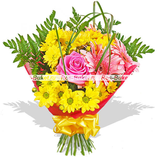 Рассвет - букет из роз и гербер
