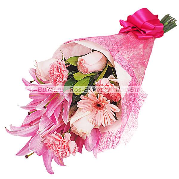 Розовый кварц - букет из лилий и гербер