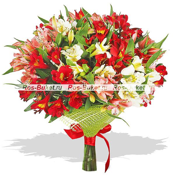Огненное сердце - букет из разноцветных альстромерий