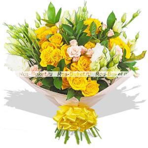 Солнечное затмение - букет из кустовых роз и эустом...<br>