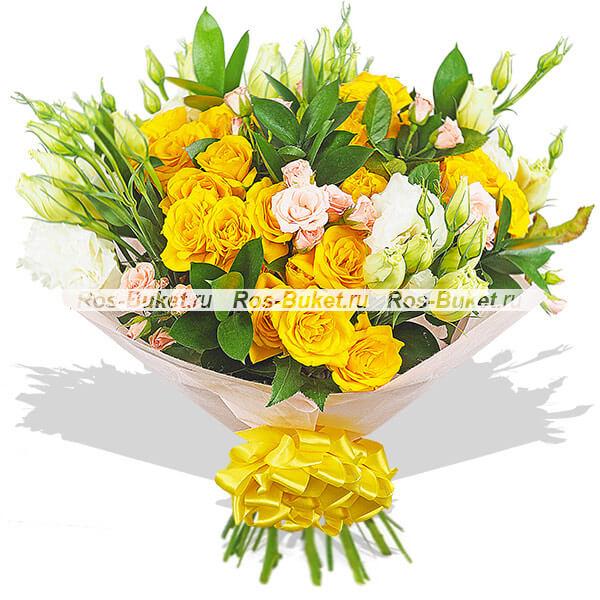 Солнечное затмение - букет из кустовых роз и эустом