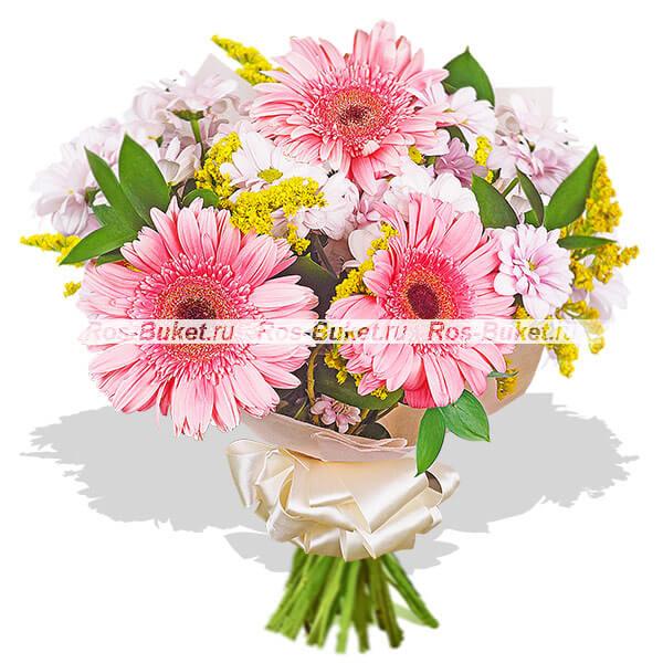 Розовый маникюр - букет из гербер и хризантем