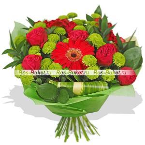 Бордо - букет из красных роз и гербер