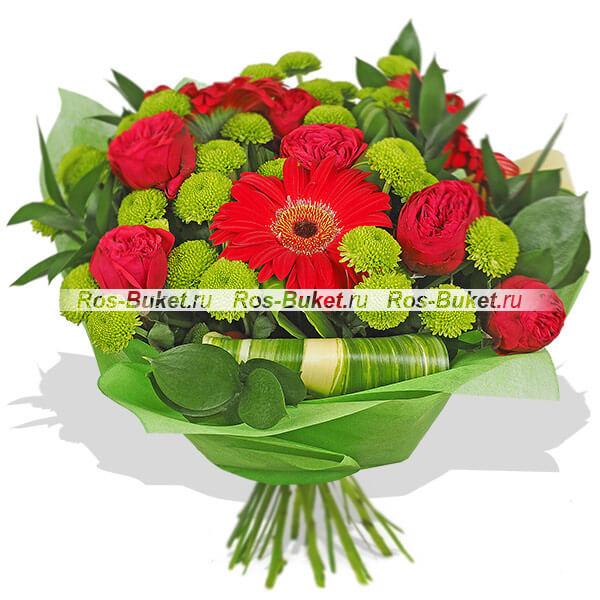 Устаревшие букеты Гранд Флора Бордо - букет из красных роз и гербер фото