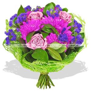 Сладкий сон - букет из роз и хризантем