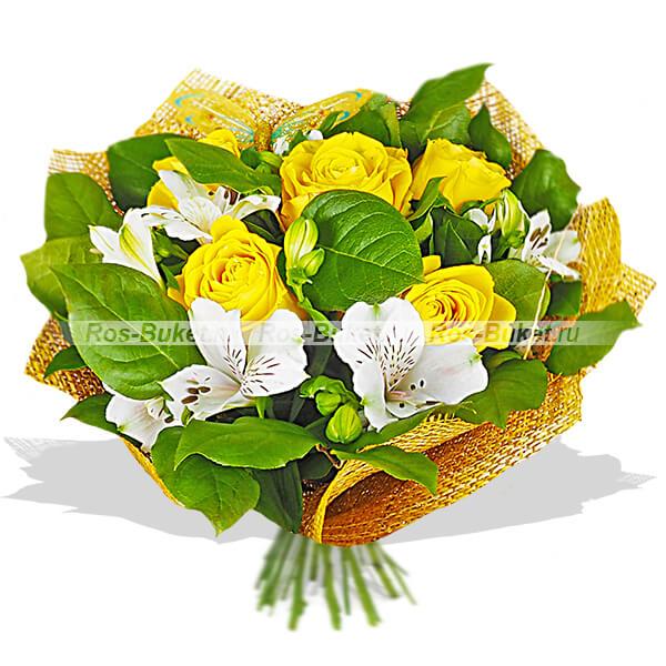 Воздушный поцелуй - букет из роз и альстромерий
