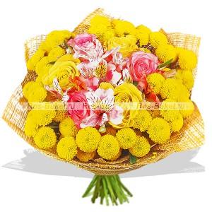 Незабываемый - букет из кустовых хризантем и роз...<br>