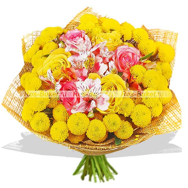 Незабываемый - букет из кустовых хризантем и роз