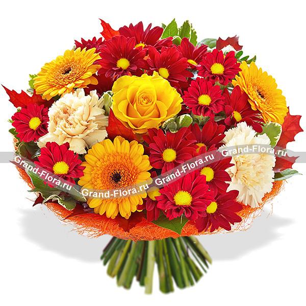 Элитный букет из жёлтых роз - Осенний лес