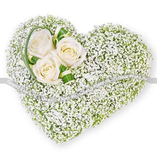 Сердце из белых роз - Для Ангела от Grand-Flora.ru
