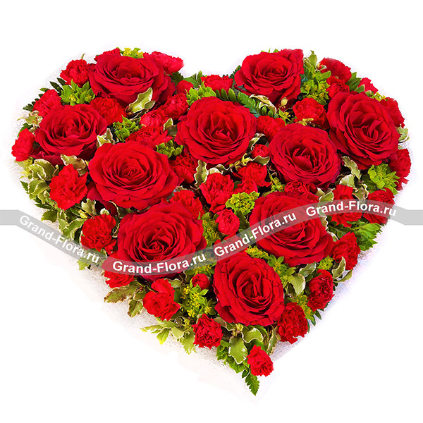 Сердце из красных роз и гвоздик - Всё о любви от Grand-Flora.ru