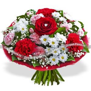 Букет из роз, хризантем и гвоздик - Наша  красивая история...<br>