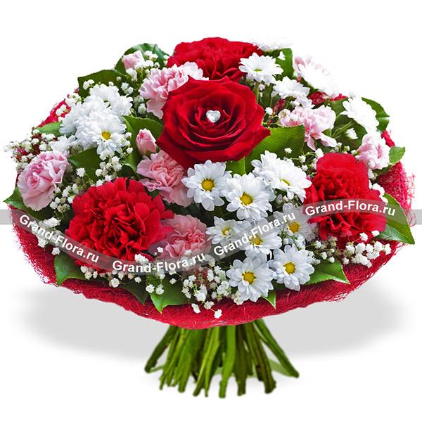 Розы Гранд Флора Букет из роз, хризантем и гвоздик - Наша красивая история фото