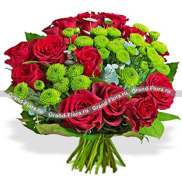 Розы Гранд Флора Классика - букет из роз и кустовых хризантем фото