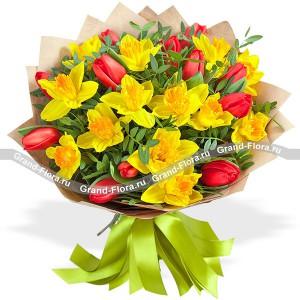 Солнечное утро - букет из нарциссов и тюльпанов от Grand-Flora.ru