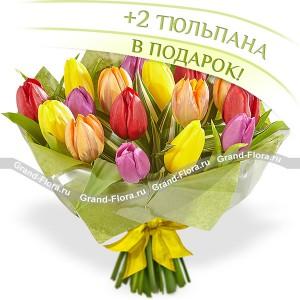 Радуга - букет из разноцветных тюльпанов...<br>