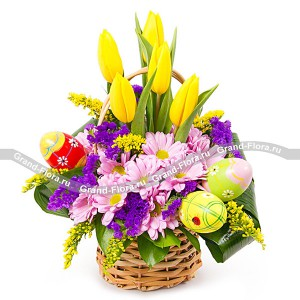 Утро Пасхи - корзина с хризантемами и декоративными яйцами...<br>