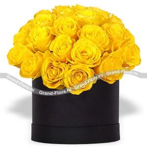Роскошь - букет из желтых роз в коробке