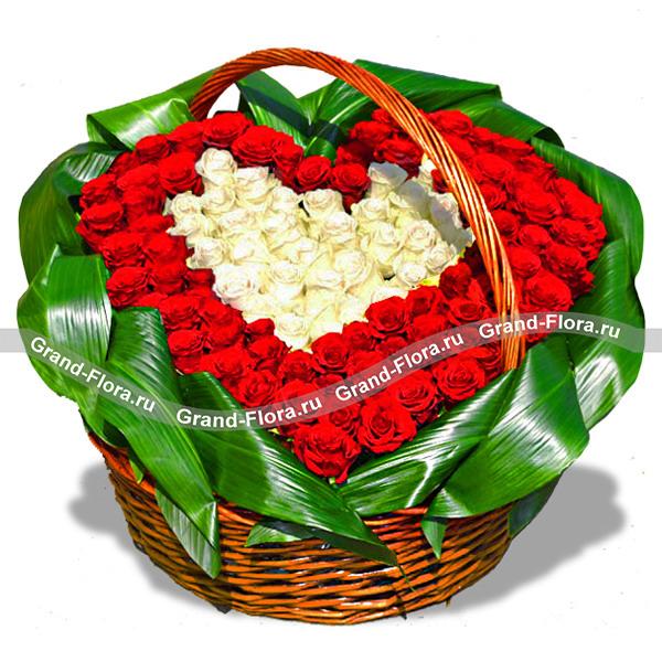 Цветы Гранд Флора 101 роза (сердце)