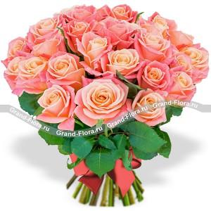 Миледи (25 роз) - букет из персиковых роз