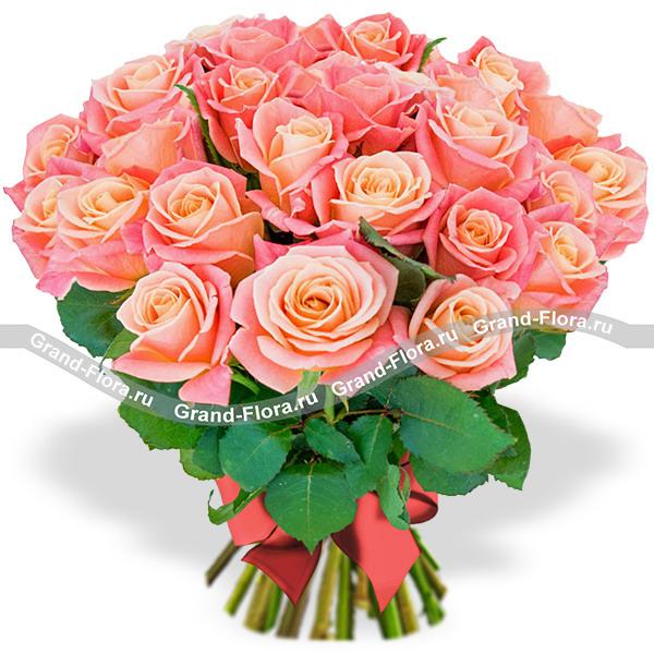 25 персиковых роз - букет из персиковых роз