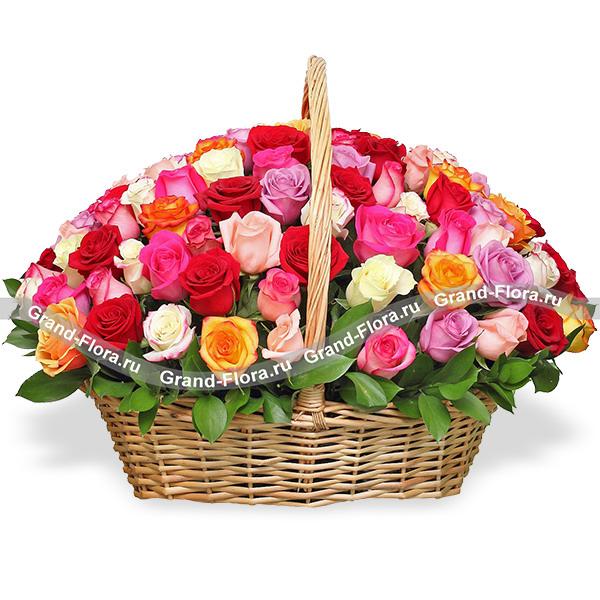 """Корзина из 101 розы """"Роскошная"""" от Grand-Flora.ru"""