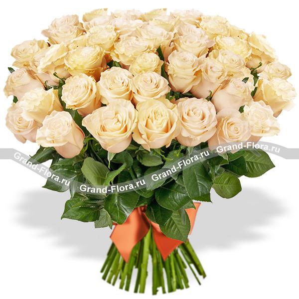 51 роза Гранд Флора Ванильные мечты (51 роза) фото