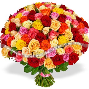 101 разноцветная роза (80 см)