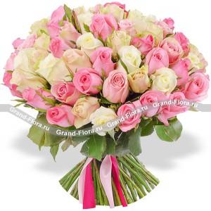 101 бело-розовая роза (40 см)