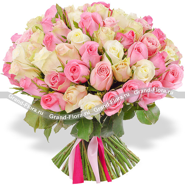 Про любовь - 101 бело-розовая роза (40 см)