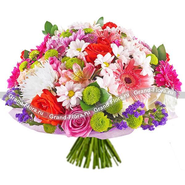 Смешаный букет из ярких гербер, хризантем и роз