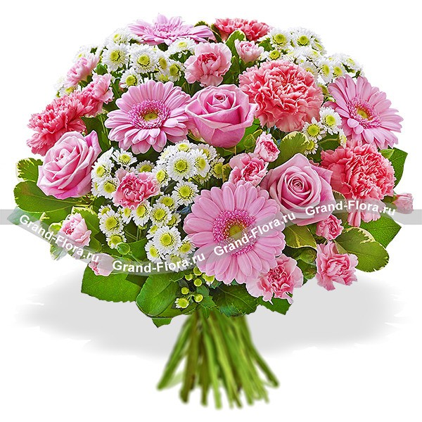 Букет из смешанных цветов в розово-белых тонах