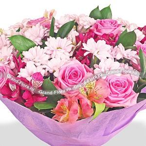 Палитра нежности - букет из роз, альстромерий и хризантем...<br>