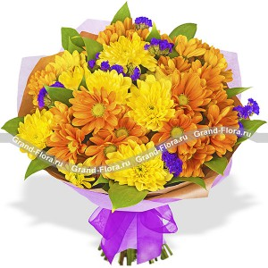 Bouquet of chrysanthemums - colorful morning