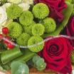 Пламенное сердце - Букет из роз и хризантем
