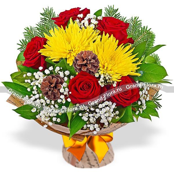 Букет из роз и хризантем - Причудливый узор