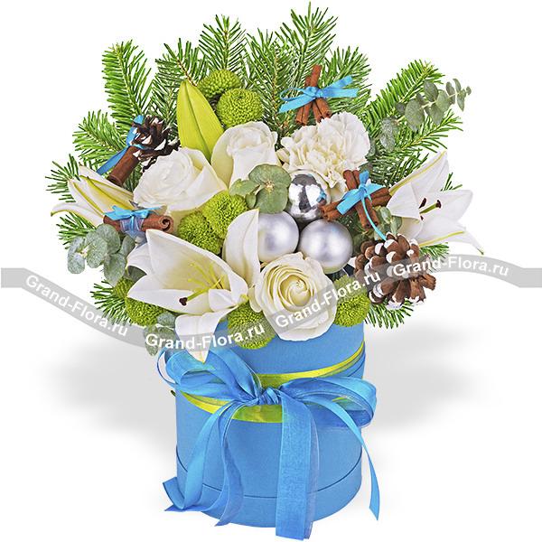 Букет роз, лилий и хризантем - Зимнее настроение