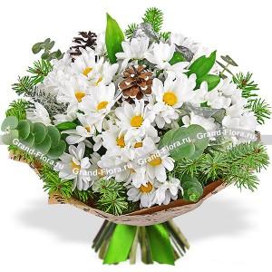 Букет из хризантем - Снежинки