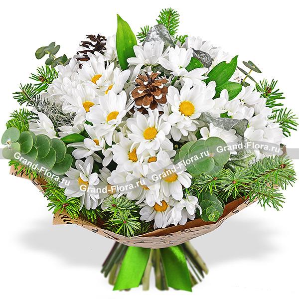 Снежинки - букет из белых хризантем