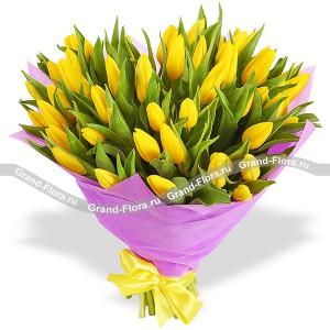 51 желтый тюльпан- букет из тюльпановТюльпан – это нежный и хрупкий цветок, который способен покорить своей красотой даже самое неприступное и ледяное сердце. А огромный букет желтых тюльпанов может стать для вас началом примирения с любимой девушкой или зажжет страсть в глазах сотрудн...<br>