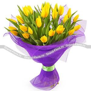 Солнечное сияниеТюльпан – это нежный и хрупкий цветок, который способен покорить своей красотой даже самое неприступное и ледяное сердце. А огромный букет желтых тюльпанов может стать для вас началом примирения с любимой девушкой или зажжет страсть в глазах сотрудн...<br>