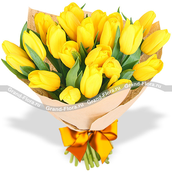 Лучик солнца - букет из желтых тюльпанов