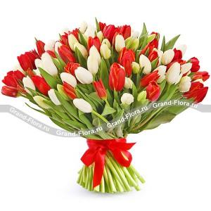 101 бело-красный тюльпанТюльпан – это нежный и хрупкий цветок, который способен покорить своей красотой даже самое неприступное и ледяное сердце. А огромный букет желтых тюльпанов может стать для вас началом примирения с любимой девушкой или зажжет страсть в глазах сотрудн...<br>