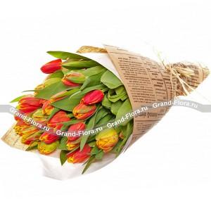 Королева сердца - 25 разноцветных тюльпанов