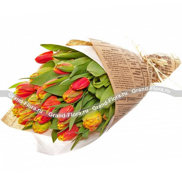 Королева сердца - 25 оранжевых тюльпанов