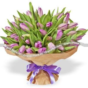 101 сиреневый тюльпанТюльпан – это нежный и хрупкий цветок, который способен покорить своей красотой даже самое неприступное и ледяное сердце. А огромный букет фиолетовыхтюльпанов может стать для вас началом примирения с любимой девушкой или зажжет страсть в глазах сот...<br>