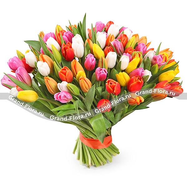 Единственной 101 разноцветный тюльпан